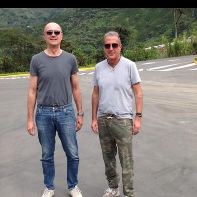 Con Fausto Vinti scout dell'Atalanta, in occasione di una trasferta in Colombia